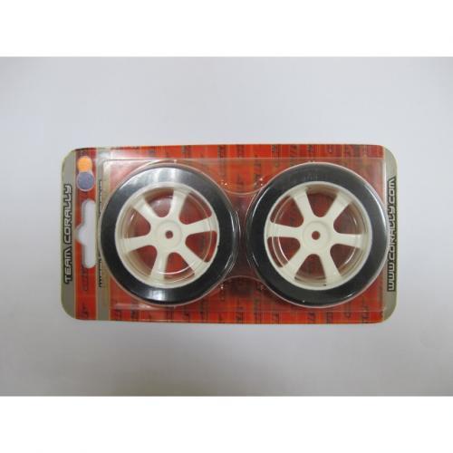 Touring Tires on White 6-Spoke Wheels (30 mm) – Plaid (1 pair)