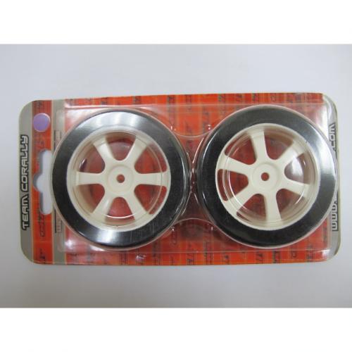 Touring Tires on White 6-Spoke Wheels (30 mm) – Purple (1 pair)