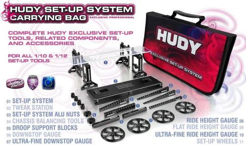 HUDY COMPLETE SET OF SET-UP TOOLS + CARRYING BAG - FOR 1/10 TOURING CARS,108256