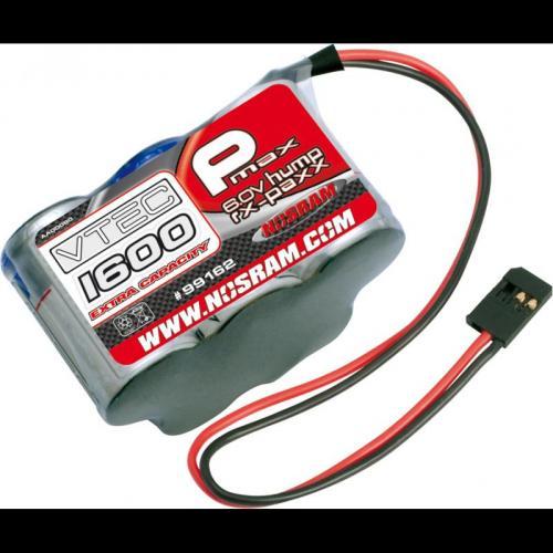 NOSRAM P-MAX VTEC 1600EC Extra Capacity RX-Pack Futaba 6.0V – 1600mAh – Hump,99612
