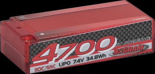NOSRAM LiPo 4700 1-10 x-treme race short sub-c hardcase - 110C/55C - 7.4V, 999511